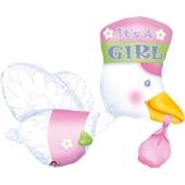 Luftballon zu Geburt und Taufe eines Mädchens, Klapperstorch, rosa, heliumgefüllt
