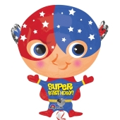 Superheld Luftballon, Super Birthday zum Geburtstag, ohne Helium