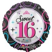 Folienballon, Sweet 16, zum 16. Geburtstag, ohne Helium