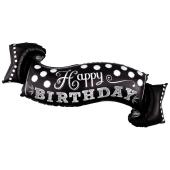 Black & White Chalkboard Birthday Luftballon zum Geburtstag mit Helium Ballongas