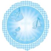 Luftballon Christening Booties, Hellblau zur Taufe inklusive Helium