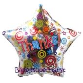 Luftballon aus Folie Thanks, inklusive Helium-Ballongas