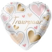 Folienballon zur Hochzeit, Traumpaar, Herzen, ohne Helium