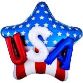 Folienballon USA on Stars and Stripes Jumbo mit 3D-Effekt, Inklusive Helium
