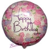 Geburtstags-Luftballon Vintage Rosen Happy Birthday, ohne Helium-Ballongas
