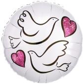 Wedding Doves, Turteltauben Luftballon zur Hochzeit, Folienballon inklusive Helium