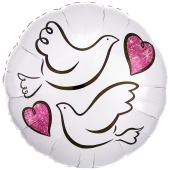 Luftballon aus Folie zur Hochzeit, Wedding Doves, Turteltauben, ohne Helium