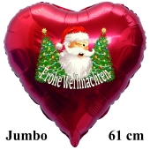Jumbo Folienballon Weihnachtsmann mit Weihnachtbäumen, Frohe Weihnachten, 61 cm Herz, ohne Helium/Ballongas