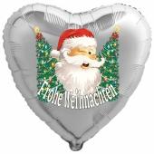 Herzluftballon aus Folie, Frohe Weihnachten, Weihnachtsmann mit Weihnachtsbäumen mit Helium