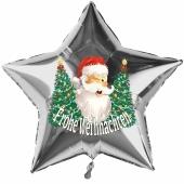 Stern-Luftballon aus Folie, Frohe Weihnachten, Weihnachtsmann mit Weihnachtsbäumen mit Helium