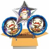 3 Luftballons zu Weihnachten, Happy Christmas Weihnachtsmann und Rentiere
