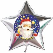 Stern-Luftballon aus Folie, Happy Christmas, Weihnachtsmann mit Helium