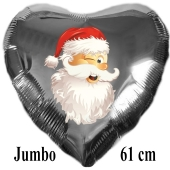 Jumbo Folienballon Weihnachtsmann zwinkert, 61 cm Herz, silber, ohne Helium/Ballongas