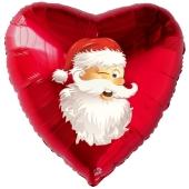 Herzluftballon aus Folie, zwinkernder Weihnachtsmann mit Helium
