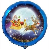 Luftballon aus Folie, Frohe Weihnachten, Weihnachtsmann auf Schlitten mit Helium