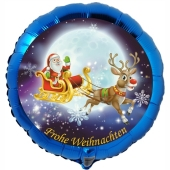 Folienballon Weihnachtsmann auf Schlitten, Frohe Weihnachten, rund, ohne Helium/Ballongas