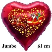 Jumbo Herzluftballon aus Folie, Weihnachtsmann mit Schlitten und Rentieren mit Helium