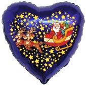 Herzluftballon aus Folie, lila, Weihnachtsmann mit Schlitten und Rentieren mit Helium