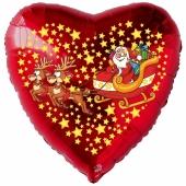 Herzluftballon aus Folie, Weihnachtsmann mit Schlitten und Rentieren mit Helium