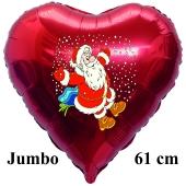 Jumbo Herzluftballon aus Folie, Weihnachtsmann Schnee mit Helium