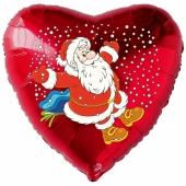 Herzluftballon aus Folie, Weihnachtsmann Schnee mit Helium