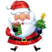 Weihnachtsmann mit Tannenbaum, Folienballon zu Weihnachte und Nikolaus, inklusive Helium