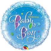 Luftballon, holografisch mit Helium zu Geburt und Taufe,Welcome Baby Boy
