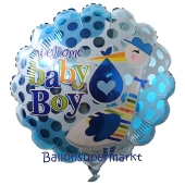 Welcome Baby Boy Storch Luftballon aus Folie mit Helium