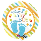 Luftballon mit Helium zu Geburt und Taufe eines Jungen:Welcome Baby Boy Boy