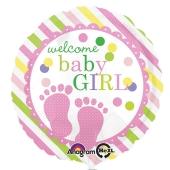 Luftballon mit Helium zu Geburt und Taufe eines Mädchens: Welcome Baby Girl, Babyfüßchen