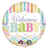 Luftballon mit Helium zu Babyparty, Geburt und Taufe eines Mädchens: Welcome Baby