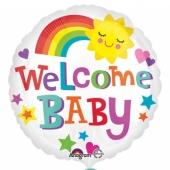 Glückliche Sonne, Welcome Baby Luftballon mit Helium zu Babyparty, Geburt und Taufe