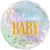 Watercolor Welcome Baby Luftballon mit Helium zu Babyparty, Geburt und Taufe