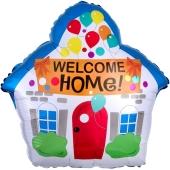 Luftballon aus Folie Welcome Home Haus, inklusive Helium-Ballongas