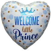 Welcome little Prince, holografischer Herzluftballon aus Folie mit Helium