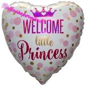 Welcome little Princess, holografischer Herzluftballon aus Folie mit Helium