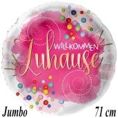 Jumbo Luftballon aus Folie Willkommen Zuhause, inklusive Helium-Ballongas