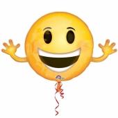 Folienballon winkender Smiley, großer Luftballon ohne Helium
