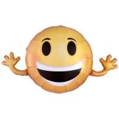 Folienballon winkender Smiley, großer Luftballon Emoji ohne Helium
