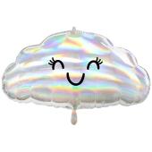 Wolke, irisierend, Folienballon mit Ballongas-Helium