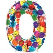 Zahlendekoration Zahl 0, bunt, Großer Luftballon aus Folie, Blau, 1 Meter hoch, Folienballon Dekozahl
