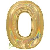 Zahl 0, holografisch, Gold, Luftballon aus Folie, 100 cm