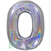 Zahl 0, holografisch, Silber, Luftballon aus Folie, 100 cm