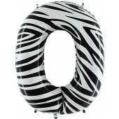 Zahlendekoration Zahl 0, Null, Großer Luftballon aus Folie, Zebra-Optik, 1 Meter hoch, Folienballon Dekozahl