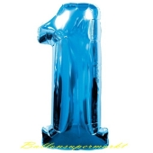 Zahl 1, Blau, Luftballon aus Folie, 100 cm