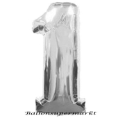 Zahl 1, Silber, Luftballon aus Folie, 100 cm