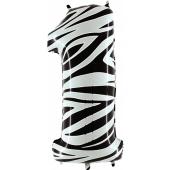 Zahl 1, Zebra Print, Luftballon aus Folie, 100 cm