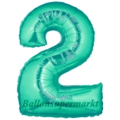 Zahl 2, Aquamarin, Luftballon aus Folie, 100 cm