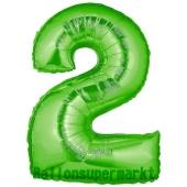 Zahlendekoration Zahl 2, Grün, Folienballon Dekozahl ohne Helium