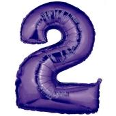 Zahlendekoration Zahl 2, Lila, Großer Luftballon aus Folie, Blau, 1 Meter hoch, Folienballon Dekozahl